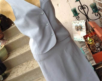Vintage hipster 80s Panther blue grey skirt and vest size 8 free domestic shipping
