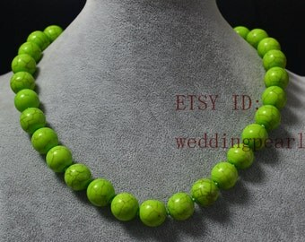14mm big green turquoise necklace,man-made turquoise bead,wedding bridesmaid jewelry,statement necklace,single strand green bead necklace