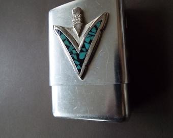 Navajo MFG  inlay turquoise arrowhead cigarette case dispenser aluminum southwestern