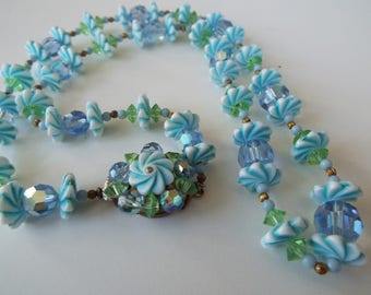 """1950s light blue celluloid  lucite early plastic flowers blue crystal beaded necklace 20"""""""