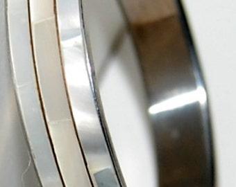 Shell inlay bracelet vintage tri shell strips