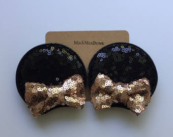 Minnie Mouse Inspired Clips ROSE gold and black Sequin perfect for pigtails to look like EARS