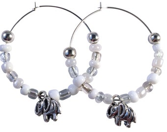 Elephant Charm HOOP EARRINGS with Glass Seed Beads on Silver Tone Hoops 4 Colour Choices