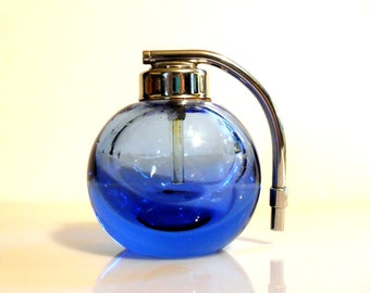 Vintage 1930s DeVilbiss Cambridge Sapphire Blue Glass Art Deco Perfume Atomizer