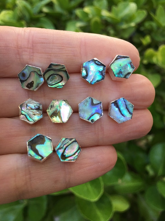 Abalone Hexagon Studs, Stud Earrings