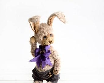 Sale 50% Artist Teddy bunny Grey - Collectible Teddy rabbit - OOAK stuffed animal - Perfect keepsake gift