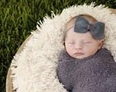 Ready to Ship Newborn Gray and Linen Bow Photography Prop, Newborn Stretch Wrap and Headband, Newborn Photo Prop, Baby Girl Flower Headband