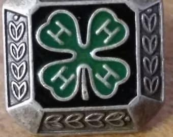 Vintage sterling silver 4-H pin back lapel pin