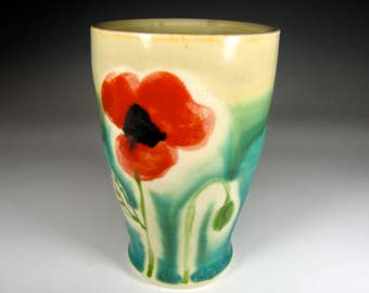 Pottery tumbler, Stoneware wine glass, pottery cup, poppy mug, poppies,ceramic cup, ceramics and pottery, green tea, tea, stemless wineglass