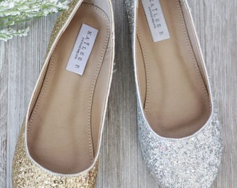WOMEN WEDDING SHOES - Rock Glitter round toe ballet flats.  Bride shoes, bridesmaids shoes and wedding party