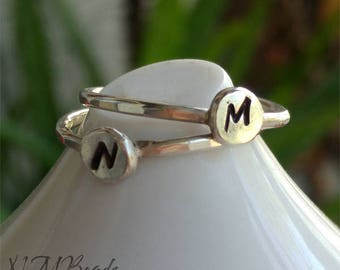 Personalized Initial Ring Hammered Handstamped Sterling Silver Stacking Letter Ring Simple Minimalist Jewelry Birthday Mom Gift For Her