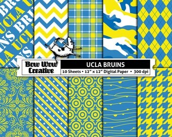 10  University of California, Los Angeles, Bruins, UCLA, digital, paper, scrapbook paper, team colors, printable, patterns, college, sports