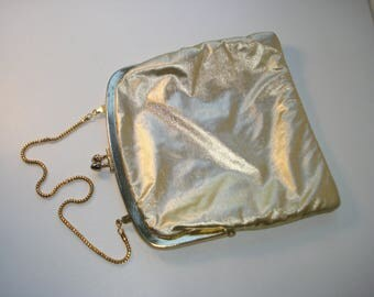 Gold Purse -  Golden Fabric Clutch Bag -  Evening Handbag with Gold Chain 1960s