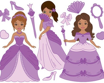 50% OFF SALE African American Princess Clipart - Digital Vector Princess, Girls, Fairytale Clip Art