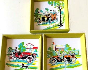 vintage old auto wall decor antique cars wall hangings set of 3 rustic laminate
