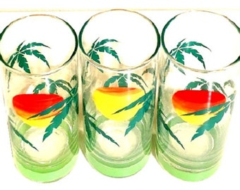 Vintage Beverage Glasses, island sunset glass tumblers, ice tea glasses, retro glassware, set of 3 replacement Panache glasses