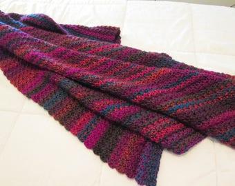 Colorful Crochet Blanket - Boho Blanket - Throw Blanket - Bohemian Throw Blanket - Multi Color Blanket