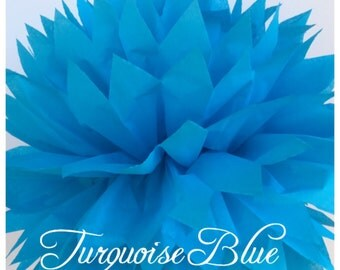 Tissue Paper Pom Poms: Turquoise Blue -- Or Choose Your Colors-- Baby Shower/ Nursery/ Bedroom/ Party Decorations tissue pom