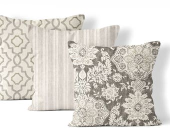 matching throw pillow set, choose any 3 combination coordinating pillow covers, 22x22 in, neutral pillow covers, gray, taupe, cream and tan