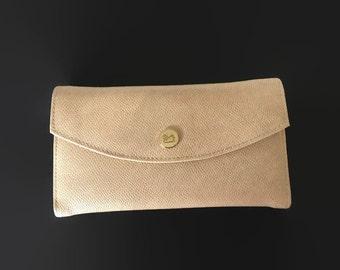 Vintage Wallet Gloria Vanderbilt Collection Taupe Organizer Clutch