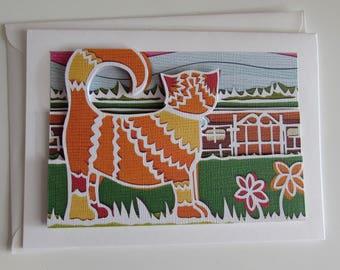 Papercut ginger cat 3D blank greeting card