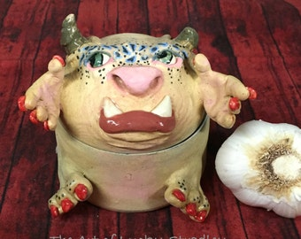 GARLIC TREASURE TROLL -Wheel thrown, hand altered & sculpted. Just a friendly body to hold small items, jewelry, garlic, favorite candy. TT7