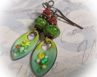 Colorful enamel earrings, rustic boho, cottage chic, copper enamel jewelry ~ Watercolor Flowers ~