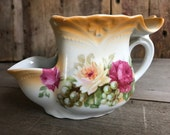 Antique German Porcelain Floral Roses, Scuttle Shaving Mug, Transfer, Made in Germany