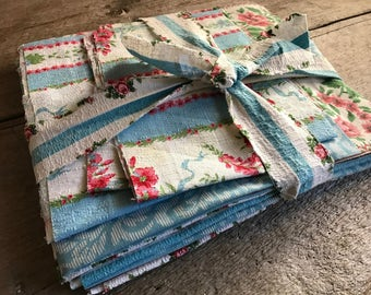 French Rosy Blue Fabric Bundle, Floral Cotton Blends, Mid Century, French Farmhouse, French Vintage Textiles