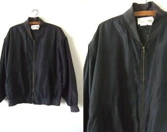 Black Silk Bomber Jacket - Slouchy fit Minimalist Baggy 90s Hip Hop Style Silk Coaches Jacket Windbreaker - Womens Medium
