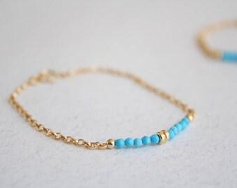 Dainty turquoise bracelet, Gold turquoise bracelet, Gold Filled Turquoise bracelet, Dainty gemstone bracelet, Gemstone bar bracelet