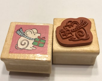 Little Christmas Mouse Rubber Stamp, 23 mm (BB)