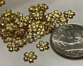 20 piece gold metal flower nail decor, 6 mm (S8)