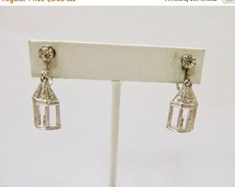 On Sale Vintage Rhinestone Lantern Earrings Item K # 398