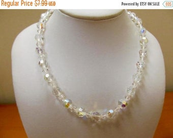 On Sale Vintage Aurora Borealis Crystal Necklace Item K # 504