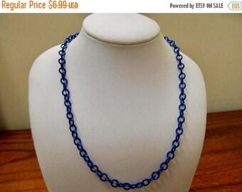 On Sale Vintage Navy Blue Enameled Chain Necklace Item K # 2906