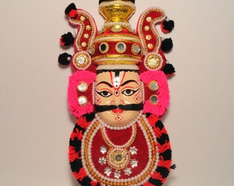 Vintage India Krishna Puppet Mask Wall Hanging