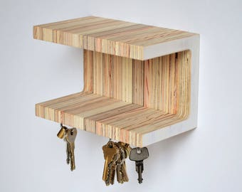 Small magnetic key holder with double shelves. Reclaimed plywood