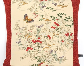 Decorative Pillow Cushion in a country cottage meadow floral with butterfly design made from rare Japanese Kimono Silk NEW for Summer 2017