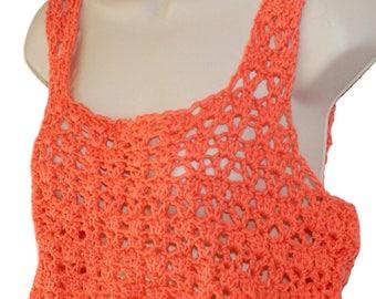 Crochet Crop Top, Sleeveless Top, Orange Cotton Tank, Summer Top, Summer Blouse, Cotton Top, Woman Summer Shirt, Sun Top, Festival Clothing
