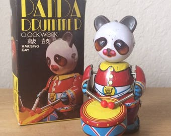 Vintage Wind-Up Drummer Panda Bear,  Tin Toy , Original Box