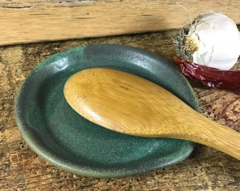 Large Ceramic Spoon Rest / Copper Green Pottery Spoon Rest / Rustic Kitchen