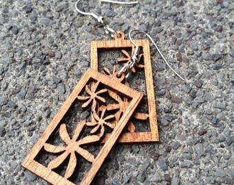 Koa Wood Earring •Tiare• Hawaiian Koa Wood