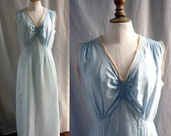 Vintage Lingerie 1930's  Slip dress,night dress, rayon & lace , pastel blue