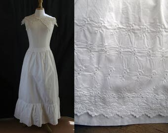 Antique long white skirt (or petticoat), hand embroidery, cotton.