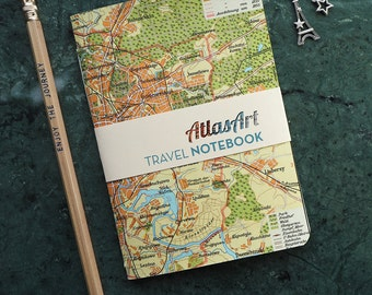 NOTEBOOK SMALL, Russia, Moscow, 4x5,8inch, 32 p., plain/ruled, travel journal, diary, atlas, map, vintage, upcycling