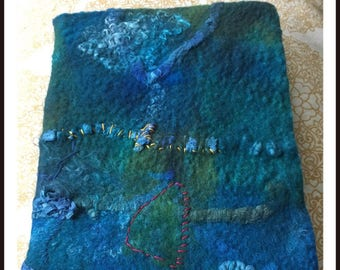 Notitieboek a5 notebook a5 felt and silk blue vilt en zijde blauw