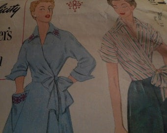 Vintage 1950's Simplicity 8317 Designer's Pattern Wrap Dress and Blouse and Pants Sewing Pattern, Size 18 Bust 36