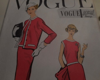 SALE Vintage 1950's, 60's Vogue 4860 Special Design Dress and Jacket Sewing Pattern, Size 12 Bust 32