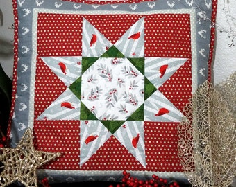Cardinals in the Snow Quilted PIllow Cover Holiday Decor